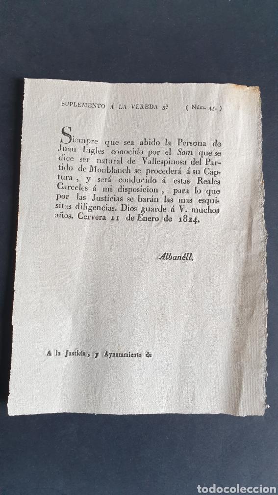 SUPREMETO SOBRE A JUAN INGLES SOM CAPTURA Y SERÁ CONDUCIDO REALES CÁRCELES 1824 CERVEZA SIGLO XIX (Coleccionismo - Documentos - Manuscritos)