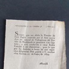 Manuscritos antiguos: SUPREMETO SOBRE A JUAN INGLES SOM CAPTURA Y SERÁ CONDUCIDO REALES CÁRCELES 1824 CERVEZA SIGLO XIX. Lote 249017580