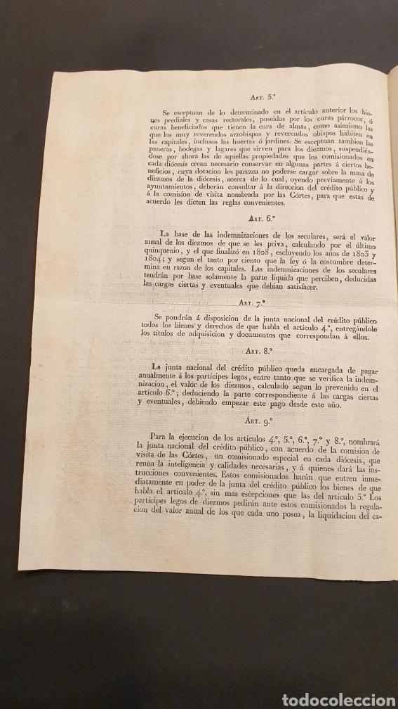 Manuscritos antiguos: Circular Decreto Fernando VII Mitad de diezmos y primicias con 18 artículos Barcelona 1821 Siglo XIX - Foto 2 - 249074250