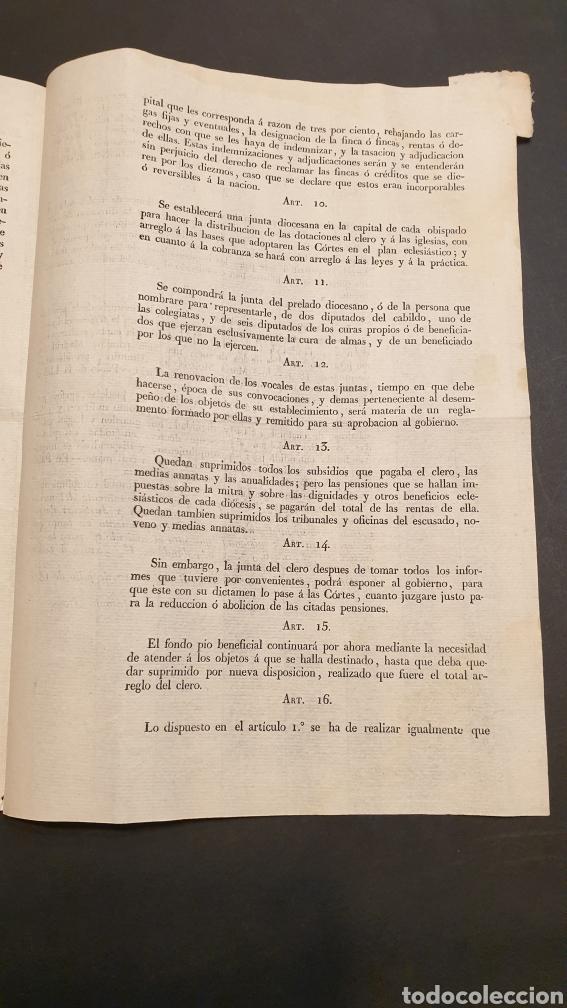 Manuscritos antiguos: Circular Decreto Fernando VII Mitad de diezmos y primicias con 18 artículos Barcelona 1821 Siglo XIX - Foto 3 - 249074250