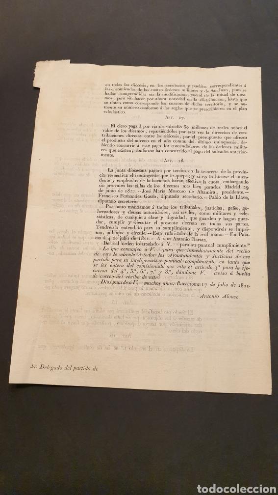 Manuscritos antiguos: Circular Decreto Fernando VII Mitad de diezmos y primicias con 18 artículos Barcelona 1821 Siglo XIX - Foto 4 - 249074250