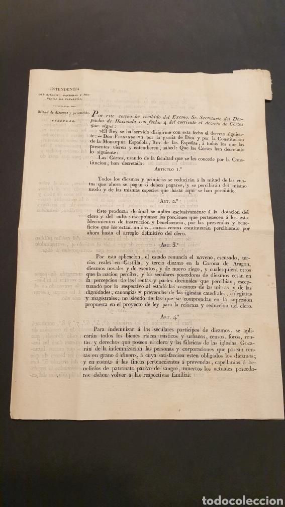 CIRCULAR DECRETO FERNANDO VII MITAD DE DIEZMOS Y PRIMICIAS CON 18 ARTÍCULOS BARCELONA 1821 SIGLO XIX (Coleccionismo - Documentos - Manuscritos)