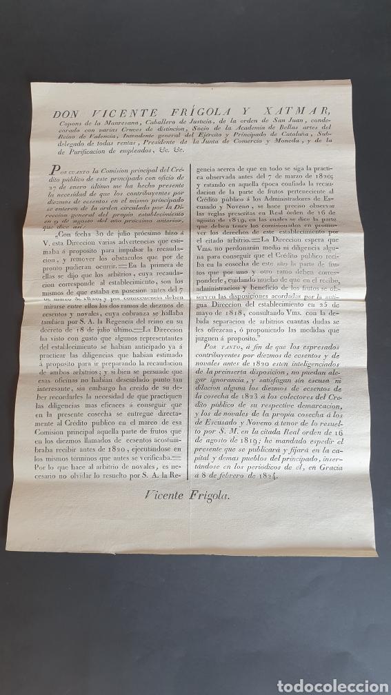 CONTRIBUYENTES POR DIEZMOS DE ECSENTOS Y NOVALES NO PUEDAN ALEGAR IGNORANCIA 1824 (Coleccionismo - Documentos - Manuscritos)