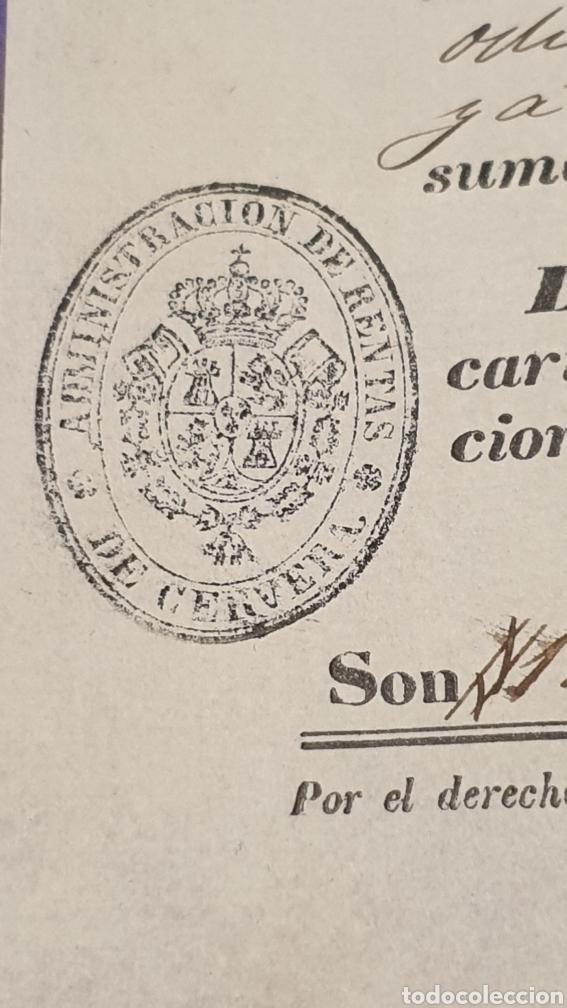Manuscritos antiguos: Contribución de consumo 120 reales y 8 maravedises vellón 1846 sello tampón de Cerveza - Foto 3 - 249370380