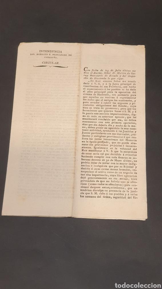 EJERCITO PRINCIPADO DE CATALUÑA CIRCULAR EJECUCIÓN DEL SISTEMA DE HACIENDA BARCELONA 1817 SIGLO XIX (Coleccionismo - Documentos - Manuscritos)