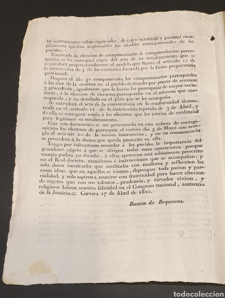 Manuscritos antiguos: Para facilitar elección de compromisarios y electores parroquiales de Diputados y instrucciones 1820 - Foto 2 - 249383230