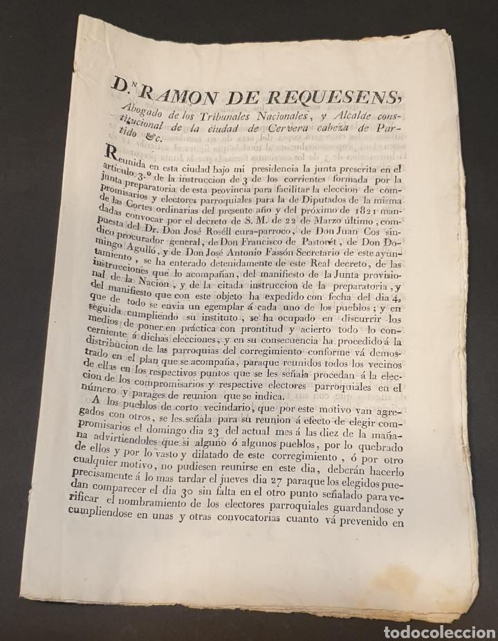 PARA FACILITAR ELECCIÓN DE COMPROMISARIOS Y ELECTORES PARROQUIALES DE DIPUTADOS Y INSTRUCCIONES 1820 (Coleccionismo - Documentos - Manuscritos)