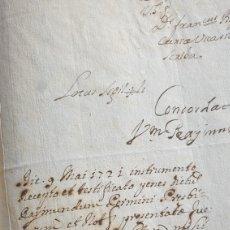 Manuscritos antiguos: 1721 INSTRUMENTO PRECEPTO ET TESTIFICATO PENES DICTUS RAYMUNDUN PERMINI A CANONIGO VICARIO GENERALI. Lote 249516175