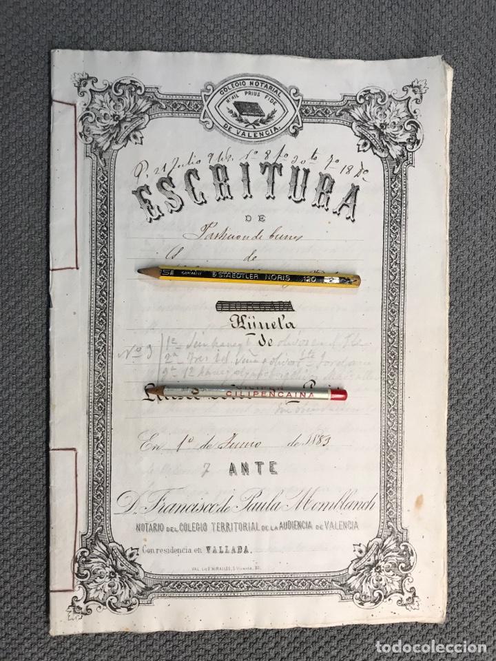 VALLADA, VALENCIA DOCUMENTOS HIJUELAS REPARTICIÓN DE BIENES, TIERRAS, CASAS (FIN SIGLO XIX) (Coleccionismo - Documentos - Manuscritos)