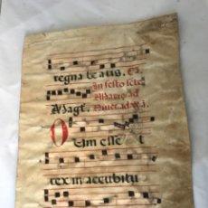 Manuscritos antiguos: PARTITURA MANUSCRITO EN PERGAMINO . S. XVIII. DOS CARAS. Lote 251930970