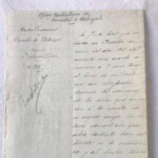 Manuscritos antiguos: DOCUMENTO MANUSCRITO DE ALCALDÍA CONSTITUCIÓNAL CORNELLA DE LLOBREGAT 1904 FIRMA DEL ALCALDE.. Lote 252421165