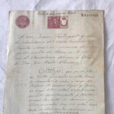 Manuscritos antiguos: DOCUMENTACIÓN MANUSCRITO DE SAN MARTI DE TOUS 1900 VOTO DE GRACIAS FIRMA DEL ALCALDE.. Lote 252423225