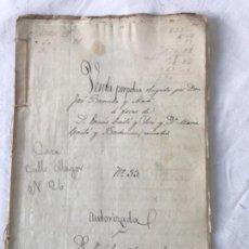Manuscritos antiguos: DOCUMENTACIÓN MANUSCRITA LEGAJÓ VENTAS DE LA CIUDAD DE REUS TARRAGONA 1881.. Lote 252426820