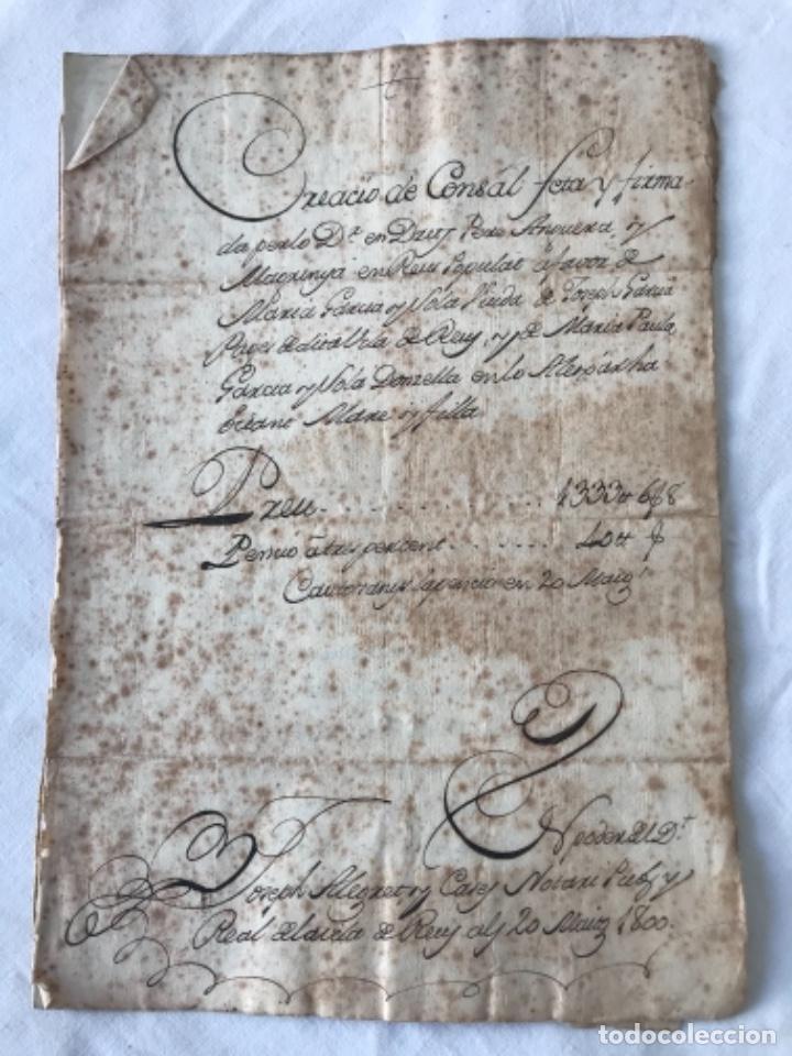 DOCUMENTACIÓN MANUSCRITA CREACIÓN CENSAL REUS TARRAGON 1800 (Coleccionismo - Documentos - Manuscritos)
