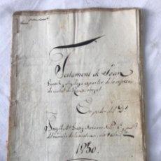 Manuscritos antiguos: DOCUMENTACIÓN MANUSCRITA, TESTAMENTO LEGAJO REUS 1850.. Lote 252431645