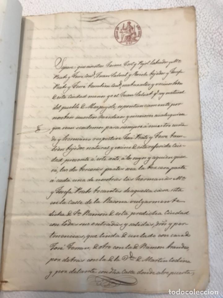 Manuscritos antiguos: DOCUMENTACIÓN MANUSCRITA ESCRITURA DE VENTA 1843 REUS TARRAGONA. - Foto 2 - 253228240