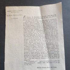 Manuscritos antiguos: QUE NO SE HAGA NOVEDAD DE ASIGNACIÓN DE DIETAS PARA DIPUTADOS SIGLO XIX BARCELONA 1821. Lote 253234665