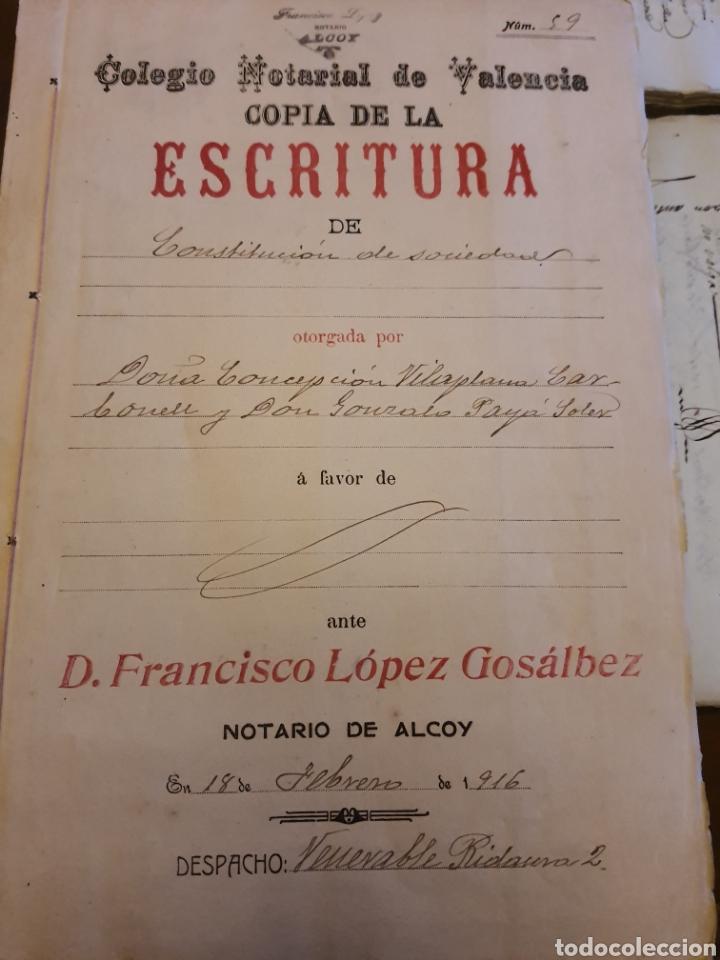 ESCRITURA .NOTARÍA DE ALCOY VALENCIA 1916 (Coleccionismo - Documentos - Manuscritos)