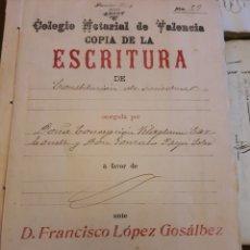 Manuscritos antiguos: ESCRITURA .NOTARÍA DE ALCOY VALENCIA 1916. Lote 253347720