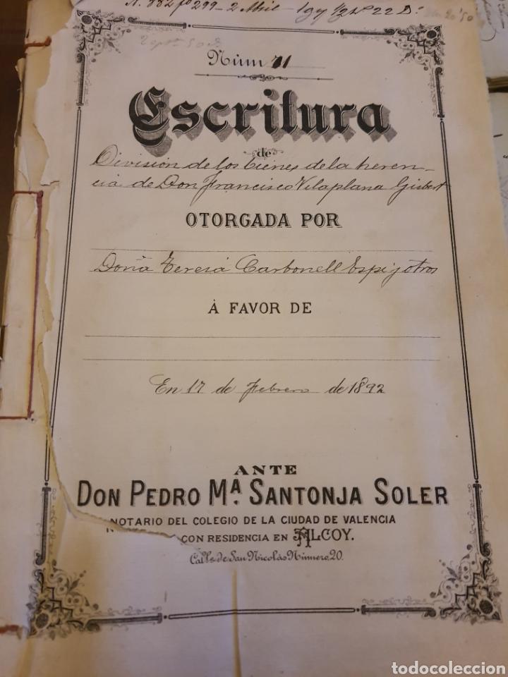 ESCRITURA DE ALCOY. 1892 (Coleccionismo - Documentos - Manuscritos)