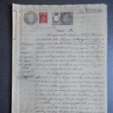 Manuscrits anciens: MANUSCRITO AÑO 1901 FISCAL 1 PESETA Y TIMBRE FISCAL PEGADO DE BARCELONA ACTUACIÓN MUNICIPAL. Lote 253893970