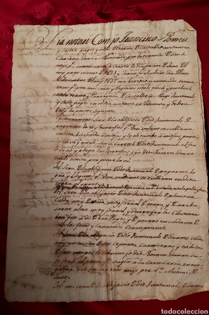 CONTRATO MASOVERÍA 1833 TRENCARROQUES/CASTELLET/ FRANCISCO ROMEU/MAGI FUNTANAL/VILANOVA GELTRÚ (Coleccionismo - Documentos - Manuscritos)
