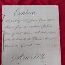 Manuscritos antiguos: ESCRITURA 1890 PLANA DEL CASTELL CUNIT. RABASA MORTA. JUAN ROMEU MASALLERAS FAVOR DE SU COLONO. Lote 254225080