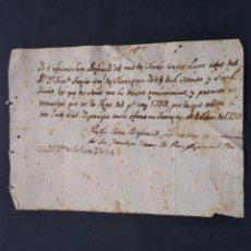 Manuscritos antiguos: RECIBO PRÉSTAMO PAGARÉ 75 LIBRAS DEL SIGLO XVIII 1799 EN CATALÁN. Lote 254592595