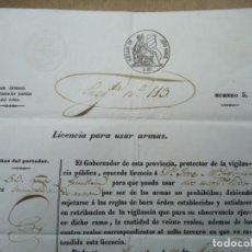 Manuscritos antiguos: 1853 RARISIMA LICENCIA PARA USAR ARMAS TAMAÑO DOBLE FOLIO HOLANDESA ORIGINAL 1853 IMPRESO. Lote 254889370