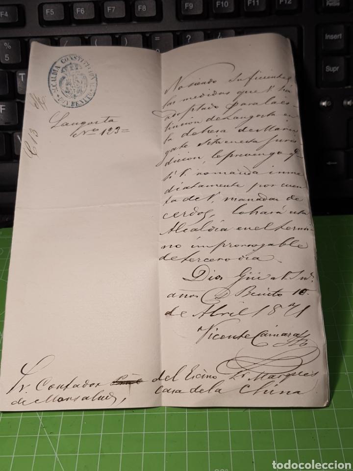 DON BENITO. BADAJOZ 1871. ALCALDÍA CONSTITUCIONAL. DOCUMENTO (Coleccionismo - Documentos - Manuscritos)