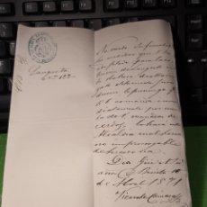 Manuscritos antiguos: DON BENITO. BADAJOZ 1871. ALCALDÍA CONSTITUCIONAL. DOCUMENTO. Lote 255602915