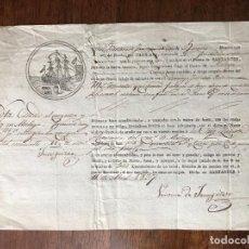 Manuscritos antiguos: 1827. CONOCIMIENTO EMBARQUE SANTANDER. ZULUETA COMERCIO MÁLAGA. VENTURA DE JÁUREGUI. NAVÍO CARMEN. Lote 255932805