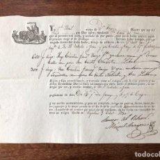 Manuscritos antiguos: AÑO 1830. CONOCIMIENTO EMBARQUE. ÁGUILAS. ZULUETA E YSERN. VICENT LLORET. NAVÍO SANTO CRISTO. MÁLAGA. Lote 255933385
