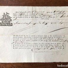 Manuscritos antiguos: AÑO 1830. CONOCIMIENTO DE EMBARQUE. CARTAGENA. ZULUETA E YSERN. CHRISTOVAL DOMENECH. MÁLAGA.. Lote 255934120