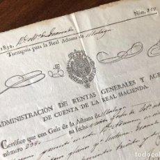 Manuscritos antiguos: AÑO 1832. GRANADA. ADMINISTRACIÓN DE RENTAS DE LA REAL HACIENDA. ENTRADA EN LA ADUANA DE MÁLAGA.. Lote 255936780