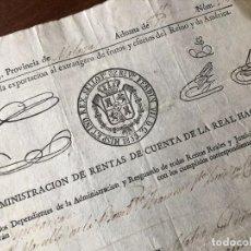 Manuscritos antiguos: AÑO 1833. MÁLAGA. ADMINISTRACIÓN DE RENTAS DE LA REAL HACIENDA. EXPORTACIÓN ACEITE A MARSELLA. BARCO. Lote 255937725