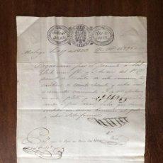 Manuscritos antiguos: AÑO 1833. MÁLAGA. DOMINGO DE ORUETA. ZULUETA E YSERN. PAGARÉ POR CUEROS VACUNOS.. Lote 255943240
