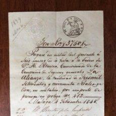 Manuscritos antiguos: AÑO 1848. MÁLAGA. H. PETERSEN. EMPRESA DE VAPORES DE MÁLAGA, F. DANDRÉ. PAGARÉ PÓLIZA LA ALIANZA.. Lote 255944090