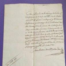 Manuscritos antiguos: RECIBO DEL INFERMER Y CANONGE DE LA CATEDRAL TARRAGONA 1745 SIGLO XVIII PARA LIMOSNAS MISAS SUFRAGIO. Lote 256123130
