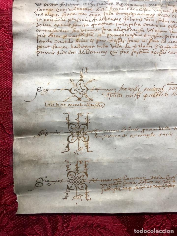 MANUSCRITO EN PERGAMINO AÑO 1531 CATALUÑA/VILLA DE SORT/DON GASPAR DE LORDAT/PEROT FARRER/ (Coleccionismo - Documentos - Manuscritos)