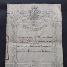 Manuscritos antiguos: MANUSCRITO, TESTAMENTO, TENIENTE CORONEL RETIRADO, ZARAGOZA 1871 ...L3823. Lote 257680980