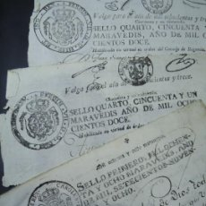 Manuscritos antiguos: 1798 Y 1812 LOTE DE TRES SELLOS EN PAPEL SON LA PARTE SUPERIOR DE TRES DOCUMENTOS CORTADOS. Lote 257688565