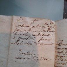 Manuscritos antiguos: MANUSCRITO. TESTAMENTO DE MARGARITA VIDAL .5 NOV 1774(408-2). Lote 257691630