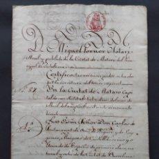 Manuscritos antiguos: MANUSCRITO EN CATALAN, OTORGANTE MARQUES DE CASTELLDOSRIUS, MATARO 1855 ...L3824. Lote 257695025