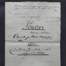 Manuscritos antiguos: MANUSCRITO, VENTA - SELLO 8º, 400 MILESIMAS - AGUARON, ZARAGOZA - AÑO 1870 ...L3827. Lote 257704145