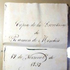 Manuscritos antiguos: MALAGA ESCRITURA 1859 REFERIDA A COMPRAVENTA EN RONDA.. Lote 258046075