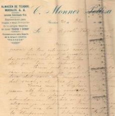 Manuscritos antiguos: 1915 MONNER PELLISA A AGUSTÍ VALLS CASCANTE (BANCA VALLS PARTICULAR) BON NADAL Y VARIOS NAVIDEÑOS. Lote 258758705