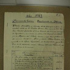 Manuscritos antiguos: ESCRITURA EN MIRA - CUENCA AÑO 1943 - 3 FOLIOS MUY BIEN CONSERVADOS. REF.82. Lote 260056045