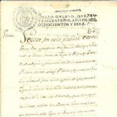 Manuscritos antigos: DOCUMENTO MANUSCRITO, JOSÉ NAPOLEÓN. PAPEL SELLADO FISCAL, SELLO 4º, AÑO 1810. GUERRA INDEPENDENCIA. Lote 260513660