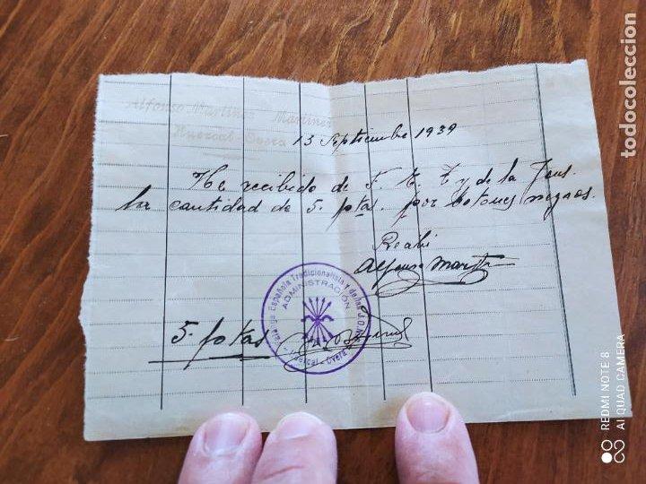 JML RECUBO MANUSCRITO ENTREGA 5 PESETAS FALANGE TRADICIONALISTA LA JONS HUERCAL OVERA ALMERIA 1939 (Coleccionismo - Documentos - Manuscritos)